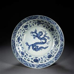 CHINESE BLUE AND WHITE DRAGON PATTERN PLATE, MING