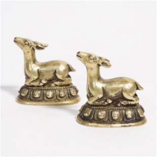 A PAIR OF GILT BRONZE DEER