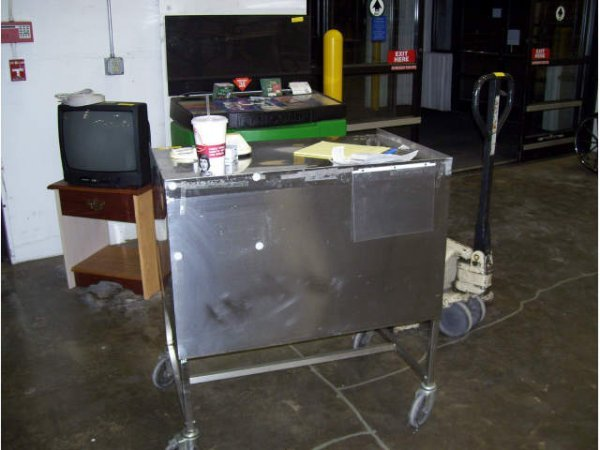 1: 1-Stainless Steel roll around table with drawers