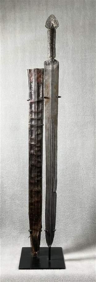 African Congo Sword & Sheath Display Included