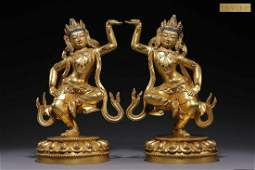 A Pair of Officially Made Ming Dynasty Gilt Bronze
