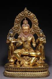 Ming Dynasty Gilt Bronze Giant Tangdongjiebu Statue
