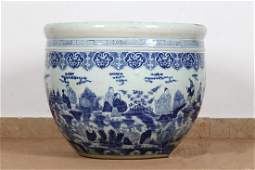 Qing Dynasty Large Cyan-blue Fully-drawn Character