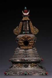 Qing Dynasty, Tibetan Pure Silver Treasure Pagoda