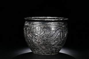 Qing Dynasty   porcelain Silver Carved Dragon Pattern