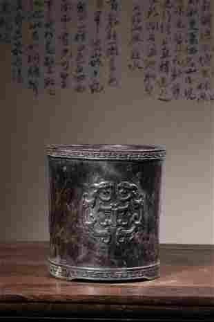 Qing Dynasty   Small-leaf Zitan Wood Brush Pot with