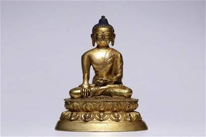 Qing Dynasty 17-19 Century Gilt Bronze Sakyamuni