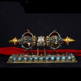 Talisman Sliver wire inlay Gems and Dzi Enbeded