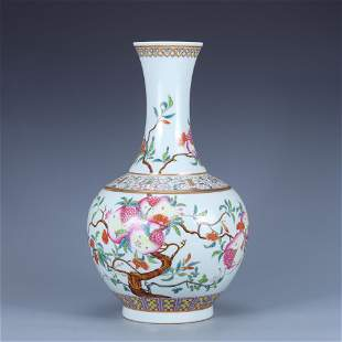 Famille Rose 'Pomegranate' Vase | Qing Dynasty Guangxu