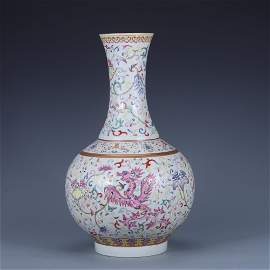 Qing Dynasty Guangxu Peirod Famille Rose 'Floral' Vase