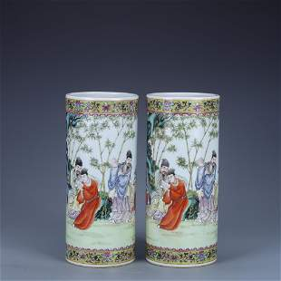 A Pair of Famille Rose Character Tube Vase | Qing