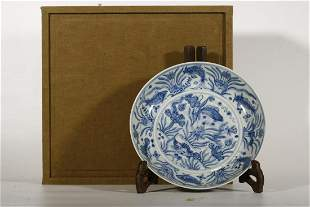 Blue White 'Fish' Plate
