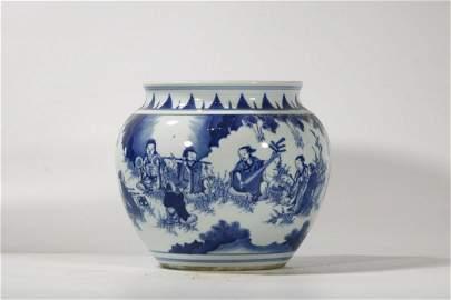 Qing Dynasty Blue White 'Figural' Jar