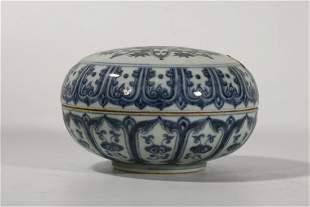 Xuande Period Blue White 'Lotus' Box