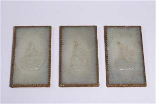 Ancient Jade 'Chilong' Jade Table Screen
