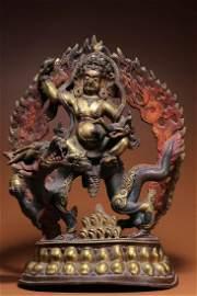 17 Century Gilt Bronze White Jambhala Statue