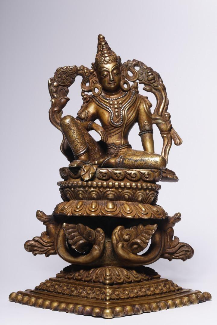 Ming Dynasty 14-17 Century Silver-inlaid Gilt Bronze