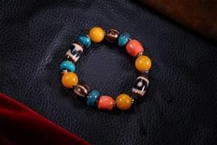 Tibetian Old Gems Beads Bracelet