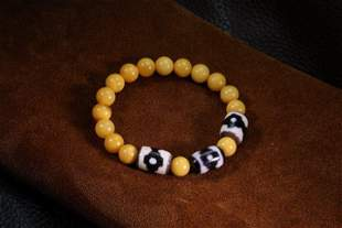 Tibetian Pure Dzi  Opaque Amber Beads Bracelet