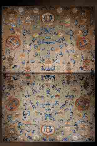 A Pair of Mid Qing Dynasty Embroidered Buddhist