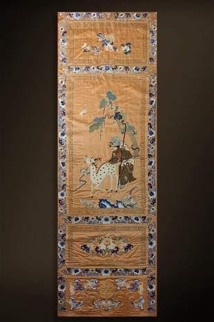 Qing Dynasty Embroidered Plate 'Li Tieguai' Hang screen