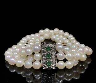 Vintage 14k Gold Inlaid Natual Emerald Pearl Bracelet