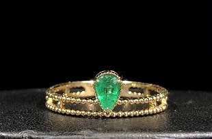 18k Gold Natual Emerald Ring