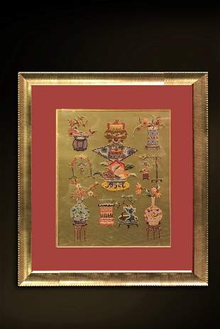 Qing Dynasty 'Vase' Qing Dynasty Hang screen {with