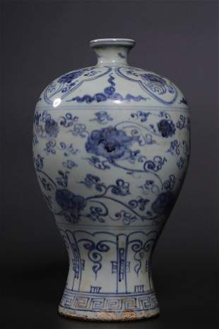 Ming Dynasty Blue White 'Floral' Meiping