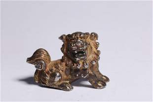Republic of China 20 Century Silver Painted Gold Lion