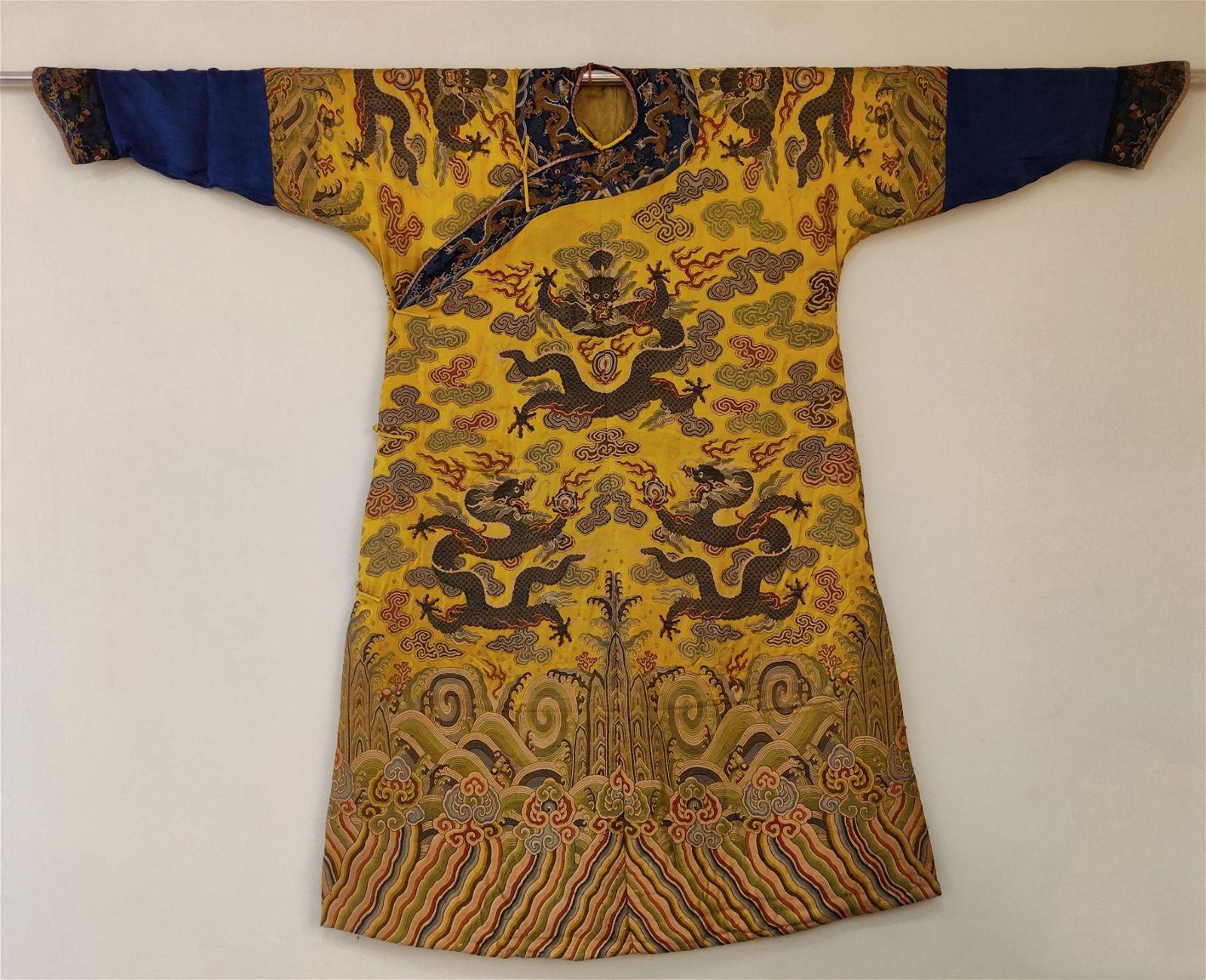 Qing Dynasty Yunjin Yellow Underglazed Nine Dragon Robe