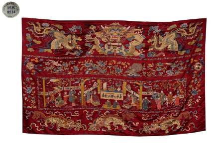 Jiaqing Period, Qing Dynasty A RED SATIN HANGING PANEL
