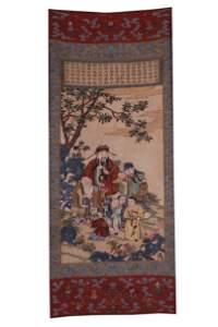 Qing Dynasty Kesi Three Stars of Fu Lu Shou