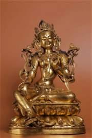 A Figure of Qing Dynasty Gilt Bronze Bodhisattva