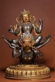 Qing Dynasty Gilt Silver Maha-mayura-vidy-rajni