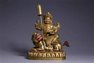 Qing Dynasty Gilt Bronze Vaisravana Sitting Figure