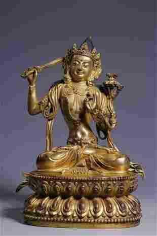Qing Dynasty Gilt Bronze Manjushri Sitting Figure