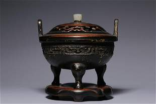 Early Qing Dynasty Bronze Gold Painted Three Legs