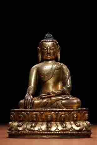 Qing Dynasty Gilt Bronze Shakyamuni Sitting Figure