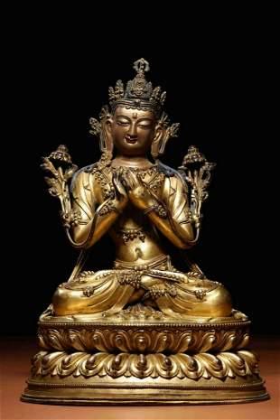 Qing Dynasty Gilt Bronze Tara Sitting Figure