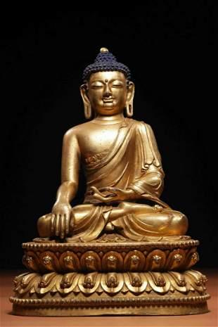 Ming Dynasty Xuande Period Gilt Bronze Shakyamuni