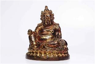Qing Dynasty Gilt Bronze Jambhala Sitting Figure