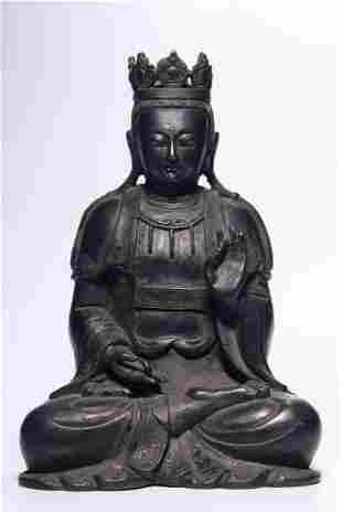 Ming Dynasty Bronze Guanyin Sitting Figure
