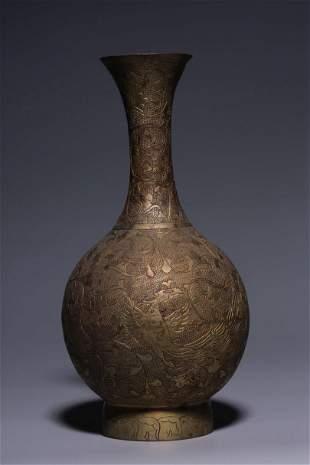 Late Qing Dynasty Gilt Bronze 'Phoenix & Floral' Vase