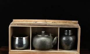 A Set of Showa period Silver 'Kawado Made' Bronze Tea