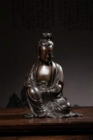 Ming Dynasty 'Shi Sou' Bronze Guanyin Sitting Figure