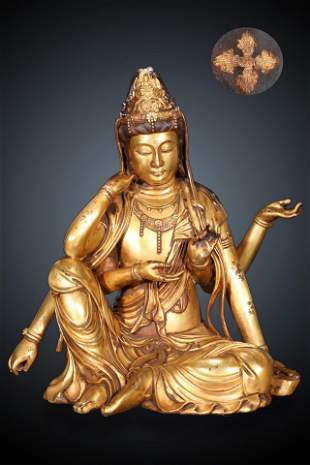 Ming Dynasty Gilt Bronze Six Arms Guanyin Sitting