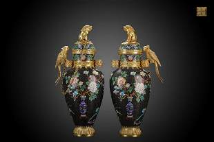 A Pair of Qing Dynasty Cast Bronze Cloisonne Enamel