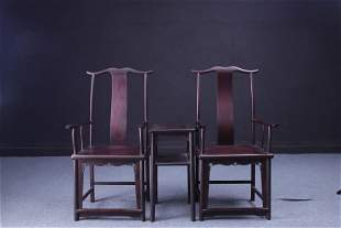 Republic of China Zitan Wood Chairs Set