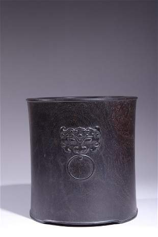 Republic of China Zitan Wood Breast Brush Pot